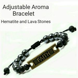 "Jewelry - NEW ""FAITH"" Aroma Lava  Gemstone Bracelet"